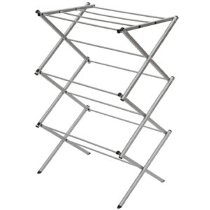 STORAGE MANIAC Foldable Clothes Drying Rack, 3-Tier 41 Inch Height, Laundry Rack with Rustproof Coating, Silvery